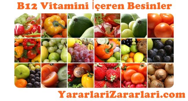 B12 Vitamini İçeren Besinler
